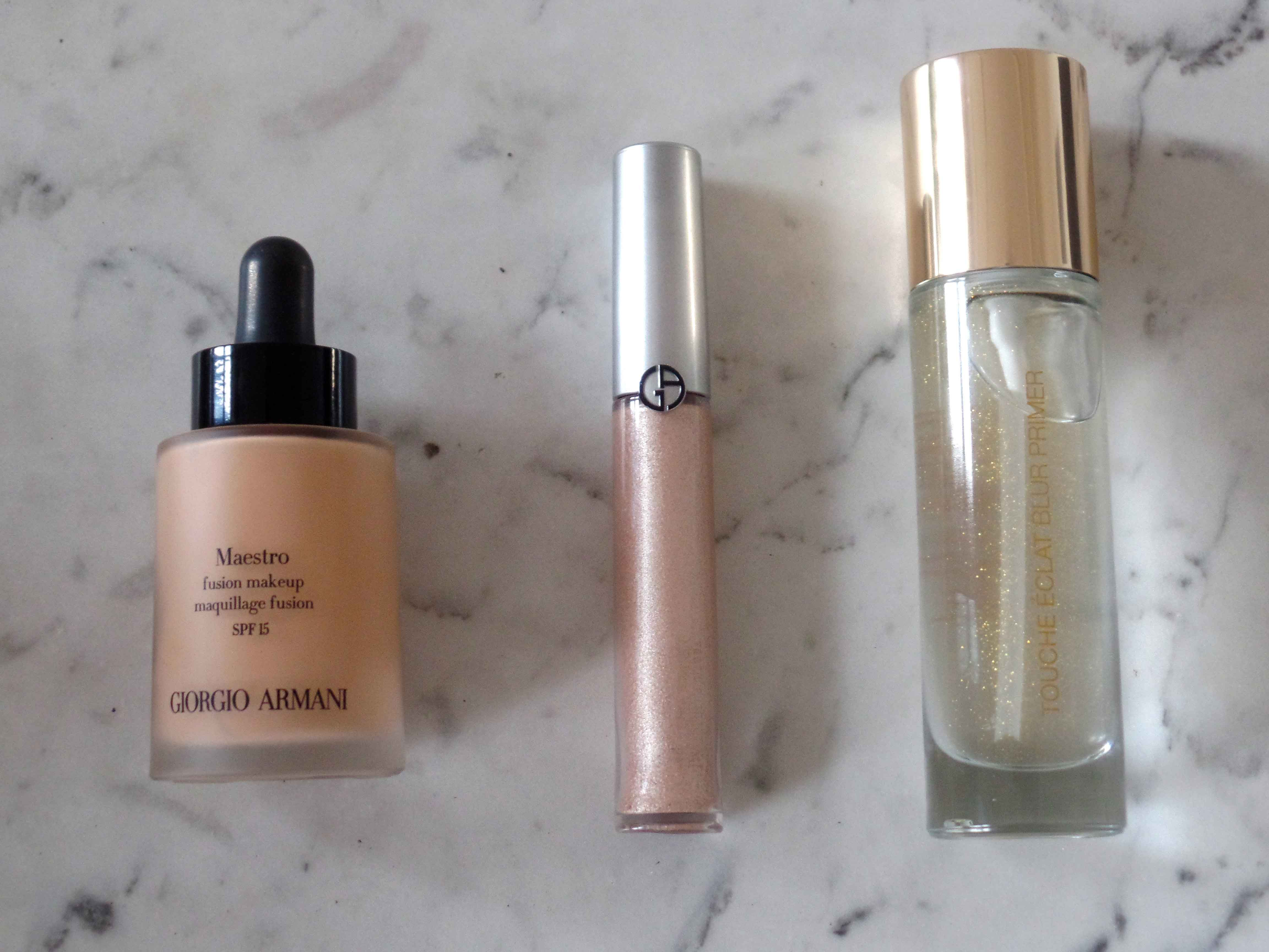 1. Giorgio Armani Maestro Fusion Make-up SPF 15, zartes, Teint-korrigierendes Make-up<br />  2. Giorgio Armani High Lighter für die Augenlider<br />  3.YSL Touche Éclat Blur Primer transparenter Primer mit glättender Wirkung, optimiert das Finish